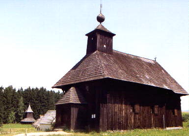 An old Catholic church in the Museum of the Slovak Village
